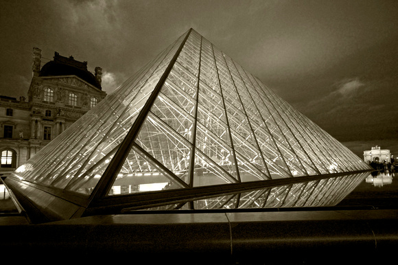 FRANCE, PARIS, THE LOUVRE AND PYRAMID #1